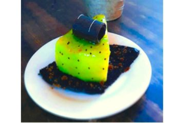 Kiwi Glazed Cheesecake in Chocolate Bark
