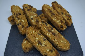 Butterscotch and Dark Chocolate Chip Biscotti