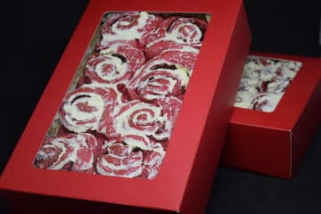 Red Velvet Cranberry Cinnamon Rolls